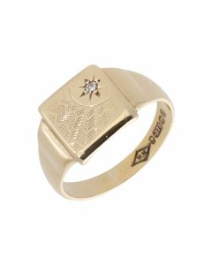 Pre-Owned 9ct Yellow Gold Diamond Set Sunburst Signet Ring