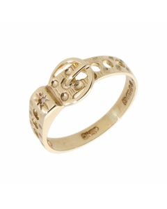 Pre-Owned 9ct Yellow Gold Diamond Set Patterned Buckle Ring