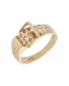 Pre-Owned 9ct Yellow Gold Patterned Buckle Ring