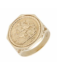 Pre-Owned 9ct Yellow Gold George & Dragon Coin Style Dress Ring