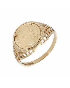 Pre-Owned 9ct Yellow Gold Coin Style Dress Ring