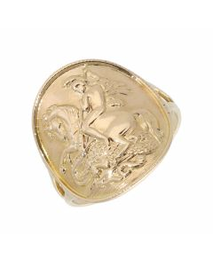 Pre-Owned 9ct Gold George & Dragon Bentover Coin Style Ring