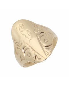 Pre-Owned 9ct Yellow Gold Engraved Oval Dress Ring