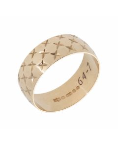 Pre-Owned 9ct Yellow Gold 7mm Star Patterned Wedding Band Ring