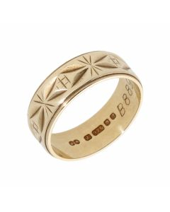 Pre-Owned 9ct Yellow Gold 6mm Patterned Wedding Band Ring