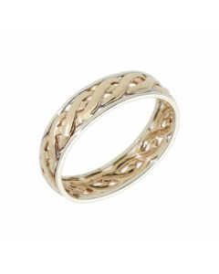 Pre-Owned 9ct Yellow & White Gold 5mm Woven Band Ring