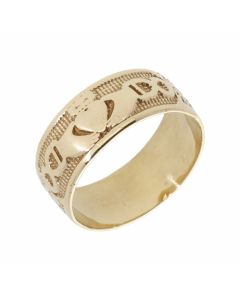 Pre-Owned 9ct Yellow Gold 8mm Claddagh Band Ring