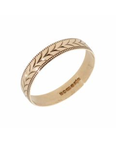 Pre-Owned 9ct Gold 5mm Bead Edge Patterned Wedding Band Ring