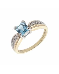 Pre-Owned 9ct Yellow Gold Blue Topaz & Diamond Dress Ring