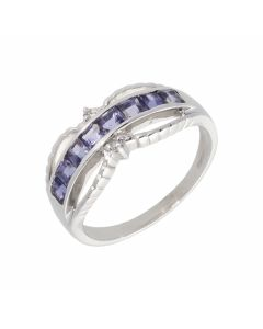 Pre-Owned 9ct White Gold Iolite & Spinel Dress Ring