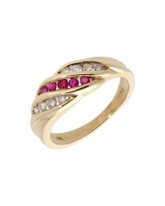 Pre-Owned 9ct Yellow Gold Ruby & Diamond Wave Dress Ring