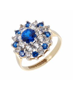 Pre-Owned 9ct Yellow Gold Blue & White Spinel Cluster Ring