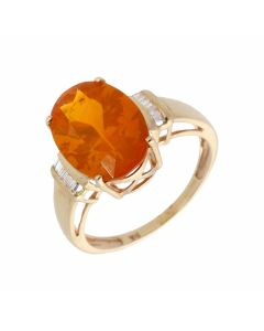Pre-Owned 9ct Yellow Gold Fire Opal & Diamond Dress Ring