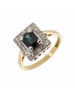 Pre-Owned 18ct Gold Vintage Sapphire & Diamond Cluster Ring