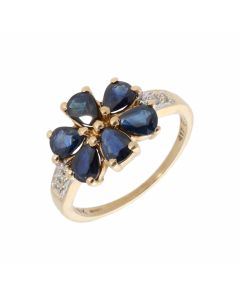 Pre-Owned 9ct Yellow Gold Sapphire & Diamond Floral Dress Ring