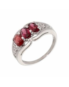 Pre-Owned 9ct White Gold Gemstone Set Trilogy Dress Ring