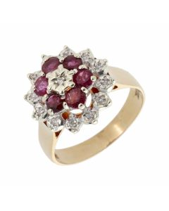 Pre-Owned 9ct Yellow Gold Ruby & Diamond Cluster Ring