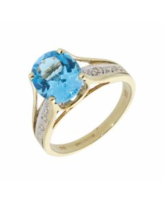 Pre-Owned 9ct Gold Blue Topaz & Diamond Solitaire Dress Ring
