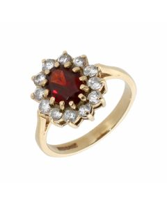 Pre-Owned 9ct Yellow Gold Garnet & Cubic Zirconia Cluster Ring