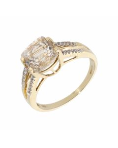 Pre-Owned 9ct Yellow Gold Rutile Topaz & Diamond Dress Ring