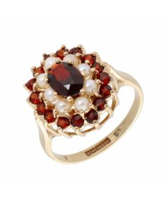Pre-Owned 9ct Yellow Gold Garnet & Pearl Cluster Ring
