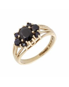 Pre-Owned 9ct Yellow Gold Sapphire Cluster Dress Ring