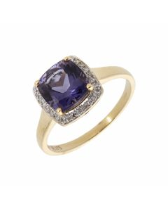 Pre-Owned 9ct Yellow Gold Iolite & Diamond Halo Cluster Ring
