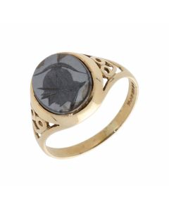 Pre-Owned 9ct Yellow Gold Oval Haematite Signet Ring