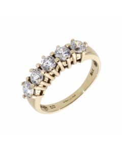Pre-Owned 9ct Yellow Gold 5 Stone Cubic Zirconia Dress Ring