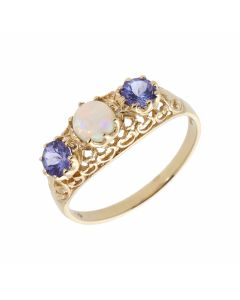 Pre-Owned 9ct Yellow Gold Tanzanite & Opal Trilogy Ring