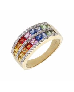 Pre-Owned 9ct Yellow Gold Rainbow Sapphire Double Row Band Ring