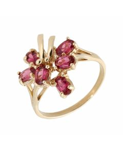 Pre-Owned 9ct Yellow Gold Pink Gemstone Set Floral Dress Ring