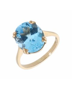 Pre-Owned 9ct Yellow Gold Blue Topaz Solitaire Dress Ring
