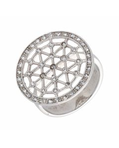 Pre-Owned 9ct White Gold Cubic Zirconia Fancy Disc Dress Ring