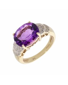 Pre-Owned 9ct Yellow Gold Amethyst & Diamond Dress Ring