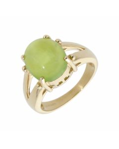 Pre-Owned 9ct Yellow Gold Green Chrysoprase Solitaire Dress Ring