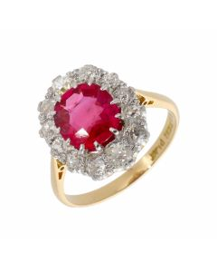 Pre-Owned Vintage Synthetic Ruby & Diamond Cluster Ring