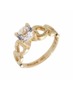 Pre-Owned 9ct Gold Cubic Zirconia Solitaire Heart Shoulder Ring
