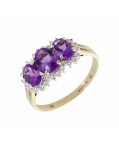 Pre-Owned 9ct Gold Amethyst & Diamond Trilogy Cluster Ring