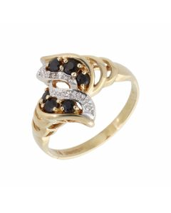 Pre-Owned 9ct Gold Sapphire & Diamond Wave Twist Cluster Ring