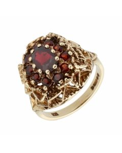 Pre-Owned 9ct Yellow Gold Garnet Nest Cluster Ring