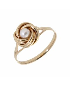 Pre-Owned 9ct Yellow Gold Pearl Centre Knot Dress Ring