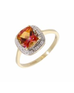 Pre-Owned 9ct Yellow Gold Topaz & Diamond Halo Cluster Ring