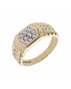 Pre-Owned 9ct Gold Cubic Zirconia Rolex Shoulder Signet Ring