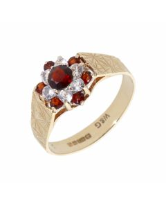 Pre-Owned 9ct Yellow Gold Garnet & Spinel Cluster Ring