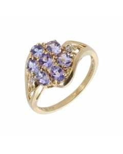 Pre-Owned 9ct Yellow Gold Tanzanite Cluster Ring