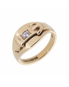 Pre-Owned 9ct Yellow Gold Cubic Zirconia Set Buckle Band Ring