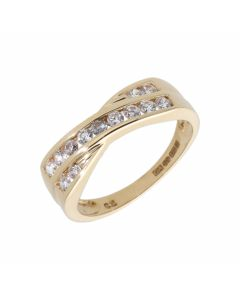 Pre-Owned 9ct Yellow Gold Cubic Zirconia Crossover Dress Ring