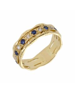 Pre-Owned 18ct Gold Sapphire & Diamond Set Bamboo Band Ring