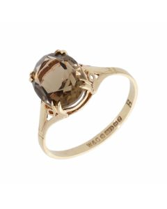 Pre-Owned 9ct Yellow Gold Oval Smokey Quartz Solitaire Ring